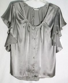 New HINGE-NORDSTROM 100% Silk Gray Top - Flounced Sleeves - Large - Orig Ret $88 #hinge #ButtonDownTop #nordstrom #top #silk #gray #Large