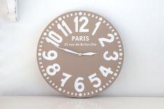 Vintage clock -Paris in pastel brown- pseudo vintage birch clock hand painted pastel brown