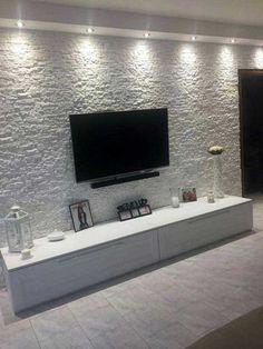 Creative Modern TV Wall Decor Idea for Living Room Design - Home Decor Interior Home Living Room, Living Room Decor, Kitchen Living, Tv Wall Decor, Wall Tv, Tv Wall Cabinets, Living Room Tv Unit Designs, Modern Tv Wall, Tv Wall Design