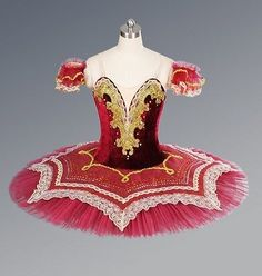 Red/Gold Professional Ballet Tutu Platter Dance Costume Competition Performance