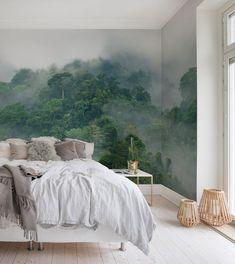Misty Forest In 2020 Schlafzimmer Tapete Tapeten Wohnzimmer Und