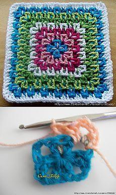Интересный квадрат крючком, мастер класс. Easy Crochet Stitches, Crochet Motifs, Granny Square Crochet Pattern, Afghan Crochet Patterns, Crochet Squares, Crochet Basics, Crochet Granny, Crochet Hooks, Knit Crochet