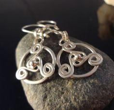 Celtic Triskel Medallion Dangle Earrings, Handmade, .925 Sterling Silver #Handmade #DropDangle