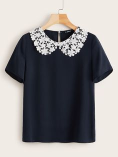 To find out about the Plus Guipure Lace Peter-pan-collar Top at SHEIN, part of our latest Plus Size Blouses ready to shop online today! Dressy Tops, Plus Size Blouses, Plus Size Tops, Style Preppy, Peter Pan Collar Top, Polyester Material, Men With Street Style, Contrast Collar, Lace Collar