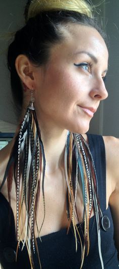 extra long feather earrings boho iridescent black grizzly natural pair. Burningman high fashion hippie on Etsy, $32.00
