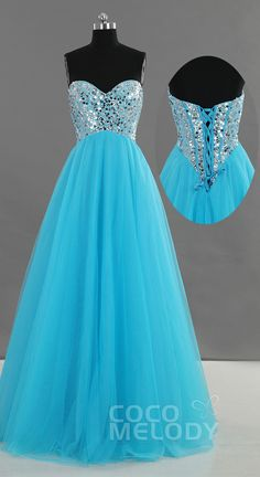 Blue Beading Prom Dress with Lace-up Back! More colors are available! #promdress #prom #dresses #cocomelody