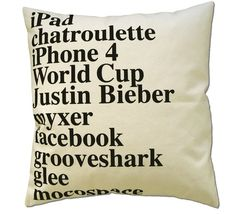 Top Google searches of 2010 pillow. Love this, of course Paula Scher has one in her home.