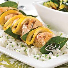 Brochettes de poulet au citron et laurier - Soupers de semaine - Recettes 5-15 - Recettes express 5/15 - Pratico Pratique