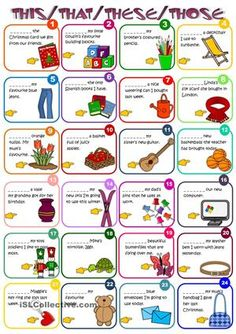 A worksheet to practise demonstratives THIS, THAT, THESE, THOSE. Greyscale included. Hope you find it useful. Hugs mada :) - ESL worksheets