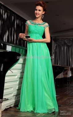Wholesale Charming Green A-line Formal Evening Dress Cap Sleeves Pleats Beads Rhinestones Long Party Gown