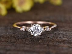 5mm Forever Classic Charles Colvard Moissanite engagement ring,bridal ring,14k rose gold diamond wedding ring,Round Gemstone,Deco handmade #diamondengagementring