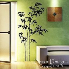 "Large Bamboo Vinyl Wall Decal Sticker Measures 36"" High by 18.5"" Wide Available in the color of your choice!! We now have 21 MATTE FINISH COLORS to choose from!!! See our COLOR CHART. If no color is indicated design will be made as shown. *Please keep in mind, very large designs can come in several pieces. All of our designs can be ""custom sized"", so let us know if you would like any design larger or smaller. We can also love to do custom work!! Let us know your design ideas!"