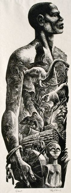 """Giant"" - Lynd Ward, 1955, wood engraving {symbolic african-american black man freed slave heritage jungle animals b+w montage artwork}"