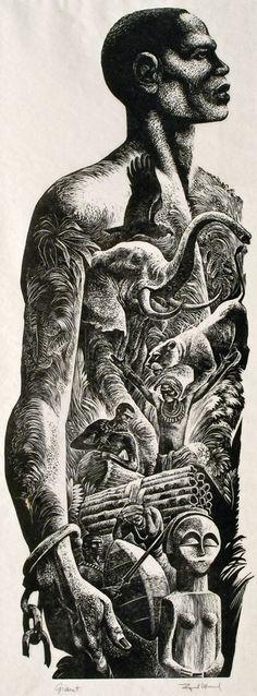 """Giant"" - Lynd Ward (1905–1985), wood engraving, 1955 {symbolic art african-american black man freed slave heritage jungle animals b+w montage artwork #noveltechnique #2good2btrue}"