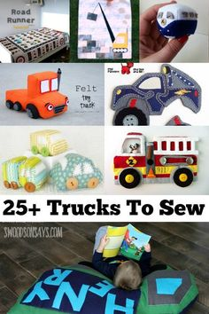 Check out over 25 ideas of what to sew for kids who love trucks! Stuffed trucks, truck quilts, truck shirts, and truck play mats are all included in this roundup of sewing projects for kids.: