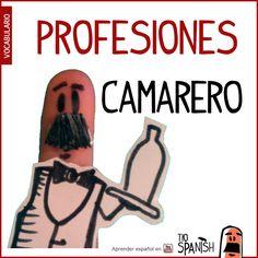 El camarero / La camarera --- Profesiones en español, vocabulario español incial- intermedio
