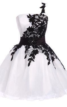 One shoulder Lace Sleeveless Short Knee Length Organza White Black Short Ball Gown Homecoming Dress