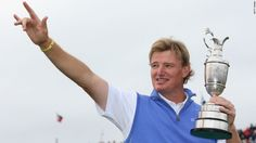 Ernie Els of South Africa celebrates with the Claret Jug after his victory during the final round of play at the British Open at the Royal Lytham & St. Annes Golf Club in England on Sunday, July 22.