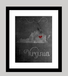 Virginia State Print by KristianRatnamDesign on Etsy