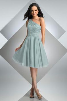 Natural waist, one shoulder, crossed waistband,gathered bodice,Shows in Misty Blue   $86.00