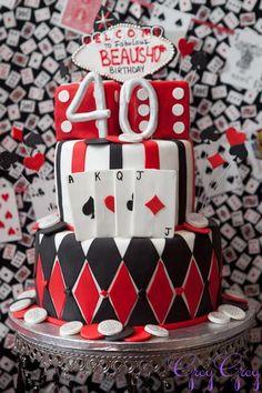 Una graciosa tarta para una fiesta casino y una fiesta 40 cumpleaños / A fun cake for a casino party and a 40th birthday party