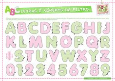 Letras e Números de Feltro (PAP com molde) • BoniFrati