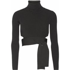 Cushnie et Ochs Cropped ribbed stretch-knit top ($910) ❤ liked on Polyvore featuring tops, sweaters, black, tie wrap sweater, cropped turtleneck sweater, ribbed turtleneck, wrap around sweater and wrap sweater