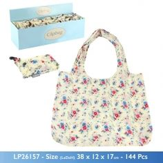 Cream with Floral print Fold Up reusable Shopping Bag In Pouch Clip key ring Leonardo Collection, Reusable Shopping Bags, Folded Up, Key Rings, Diaper Bag, Floral Prints, Pouch, Cream, Gifts