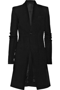 Black wool-flannel collarless coat from Rick Owens Black Wool Coat, Tweed Coat, Wool Coats, Flannel Coat, Discount Designer Clothes, Beautiful Outfits, Beautiful Clothes, Rick Owens, Clothes For Sale