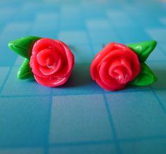 Bright Pink Rose Earrings. $12.00, via Etsy.