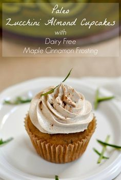 Paleo Zucchini Almond Cupcakes Recipe with Dairy Free Maple Cinnamon Frosting