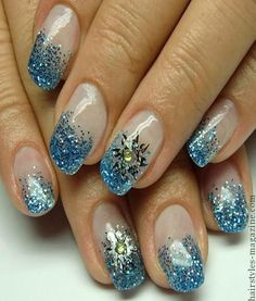 blue glitter acrylic nails Collection of Chic Acrylic Nail Art designs to Make you spellbound!