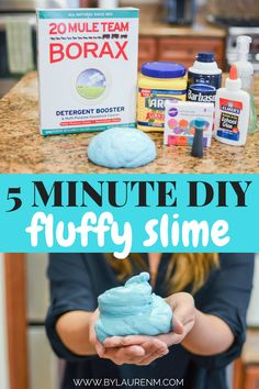 Looking for a quick, easy slime recipe that you'll love? With this 5 minute fluffy slime recipe, you'll be playing with the fluffiest slime in no time! Fluffy Slime With Borax, Diy Fluffy Slime, Fluffy Slime Recipe, Making Fluffy Slime, Borax Slime, Diy Slime, Easy To Make Slime, Fluffy Slime Ingredients, Perfect Slime