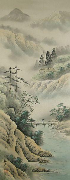 Japanese Saishiki Sansui Landscape View Picture