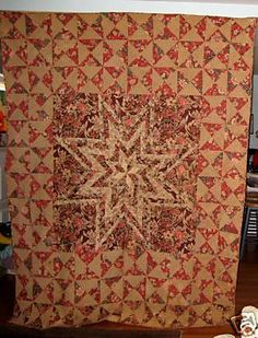 """Antique Quaker Chintz Star Quilt Early Pennsylvania   eBay gurly46; 92 x 74"""" with 10 spi, found in Chester co., Penn, dates from 1810s to 1820s, made of early printed fabrics with patterns including birds with long tails, flowers, vines, large leaves, exquisitely quilted"""