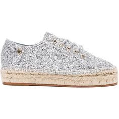 Chiara Ferragni Glitter Espadrille (2,460 GTQ) ❤ liked on Polyvore featuring shoes, sandals, flats, platform espadrille sandals, glitter platform sandals, platform sandals, flat shoes and flats sandals