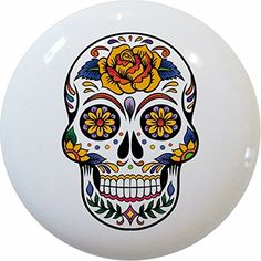 Set of 2 Sugar Skull Ceramic Cabinet Drawer Knobs Carolina Hardware and Decor http://www.amazon.com/dp/B00U1VY3OW/ref=cm_sw_r_pi_dp_yfG0vb06B0H3N