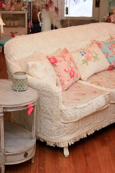 Chenille curtains/comforter repurposed & paired with fabric for upscale couch cover