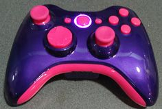 Custom New Xbox 360 Wireless Controller - Glossy Purple / Violet & Pink. I NEED THIS IN MY LIFE!