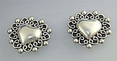 Earrings Sterling Silver Heart Clip Earrings Taxco Mexi (Image1)