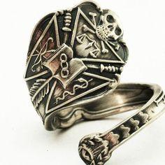 Spoon Ring Skull Odd Fellows Masonic Freemason Sterling Silver