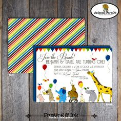 Animal Parade Party - Invitation Double Sided - Customized Printable (Wild Animal, Party Animal, Jungle, Zoo, Rainbow)