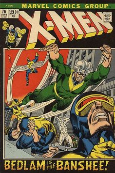"#AgeOfXmen I thought Banshees were shes (that error is corrected later)...NEW! Cover by Gil Kane. OLD! Introducing the Banshee, alias Sean Cassidy (don't confuse with Katie since Laurel got a power upgrade in the CW's ""Flash""), who makes noise in a storyline from issue 28."