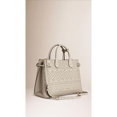 Burberry The Medium Banner in Laser-cut Leather (46.227.555 VND) ❤ liked on Polyvore featuring bags, handbags, genuine leather purse, 100 leather handbags, real leather handbags, pink leather purse and laser cut purse