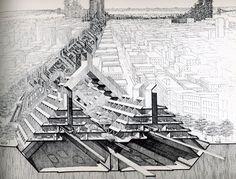 Study of Lower Manhattan Expressway, Ford Foundation, NY, NY 1967-1972 // Paul Rudolph