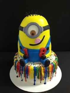 Despicable Me cake for an 18 year old that is totally obsessed with these guys. I hated to see him leave. Wouldve loved to have kept him for myself.
