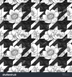 Immagine vettoriale stock 261251012 a tema Seamless Pattern Anemone Houndstooth Black White (royalty free) Print Ideas, Houndstooth, Origami, Textiles, Stripes, Graphics, Graphic Design, Illustrations, Quilts
