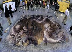 amazing artist! several pics of sidewalk and building paintings...check them out!