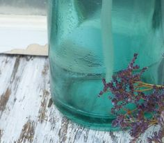 Vintage Romanian Aqua Blue Seltzer Bottle.  I love purple and aqua/turquoise together:)