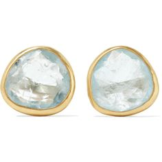 Pippa Small 18-karat gold aquamarine earrings ($655) ❤ liked on Polyvore featuring jewelry, earrings, 18 karat gold stud earrings, aquamarine jewelry, hand crafted jewelry, post earrings and light blue jewelry
